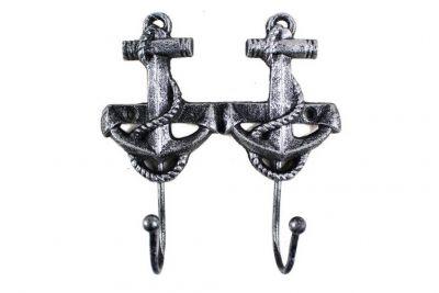 Antique Silver Cast Iron Decorative Anchor Hooks 7\