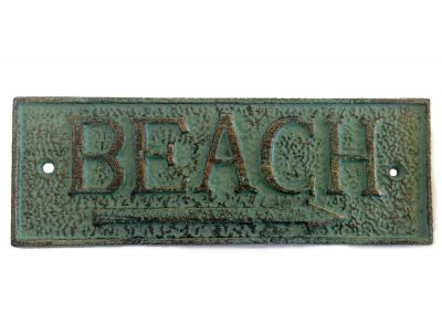 Antique Seaworn Bronze Cast Iron Beach Sign 9\
