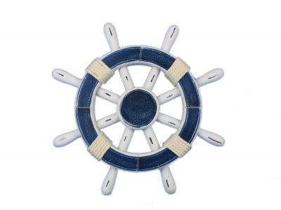 Rustic Dark Blue and White Ship Wheel 12