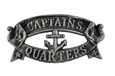 Antique Silver Cast Iron Captains Quarters Sign 9""