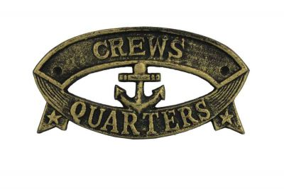 Antique Gold Cast Iron Crews Quarters Sign 8\
