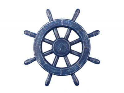 Rustic All Dark Blue Ship Wheel 12