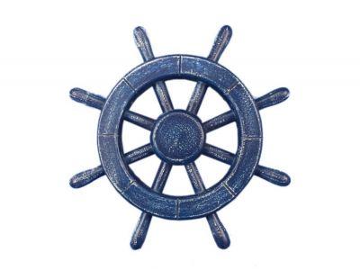 Rustic All Dark Blue Decorative Ship Wheel 12\