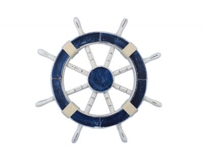 Rustic Dark Blue Ship Wheel 18