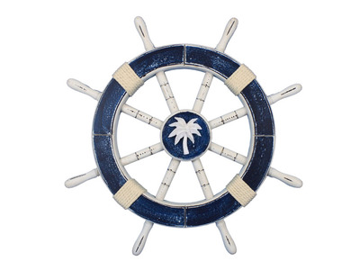 Rustic Dark Blue Ship Wheel with Palm Tree 18