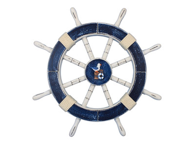 Rustic Dark Blue Ship Wheel with Seagull and Lifering 18
