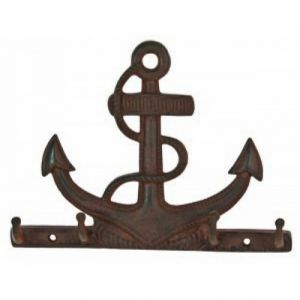 Rustic Iron Anchor with Rope Key Rack 10