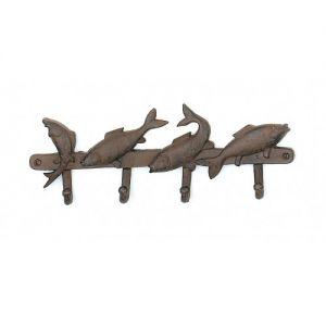 Rustic Iron Four Fish Key Rack 14