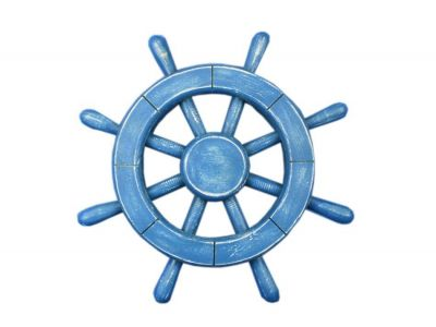 Rustic All Light Blue Decorative Ship Wheel 12\