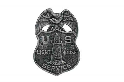 Antique Silver Cast Iron US Lighthouse Service Sign 9\