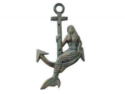 Antique Seaworn Bronze Cast Iron Mermaid Anchor 9\