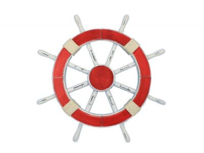 Rustic Red Ship Wheel 18