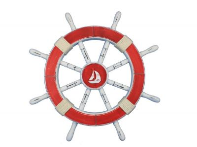Rustic Red Ship Wheel with Sailboat 18