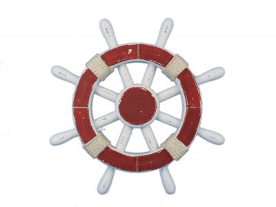 Rustic Red and White Ship Wheel 12