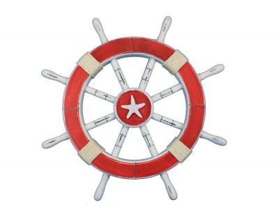 Rustic Red Ship Wheel with Starfish 18