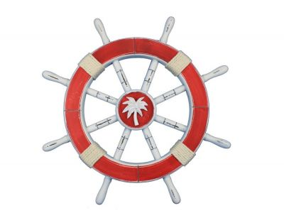 Rustic Red Ship Wheel with Palm Tree 18
