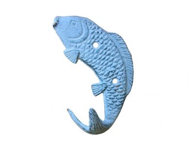 Rustic Dark Blue Whitewashed Cast Iron Wall Mounted Fish Hook 5""
