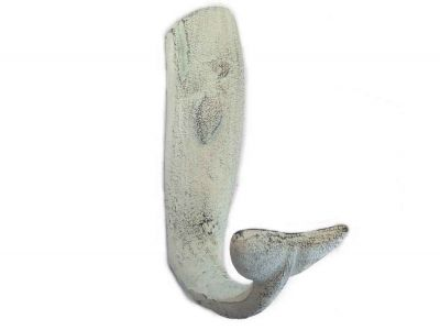 Whitewashed Cast Iron Whale Hook 6\