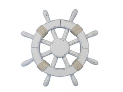 Rustic White Ship Wheel 12