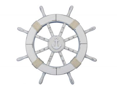 Rustic White Decorative Ship Wheel with Anchor 18\