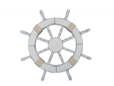 Rustic White Ship Wheel 18