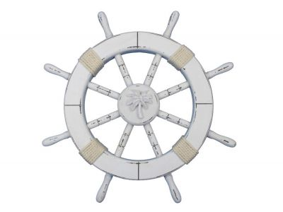 Rustic White Ship Wheel with Palm Tree 18