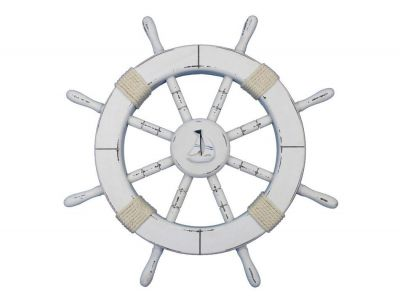 Rustic White Ship Wheel with Sailboat 18