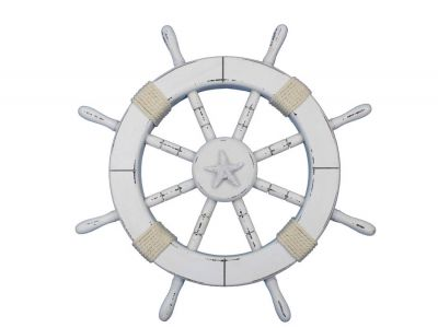 Rustic White Ship Wheel with Starfish 18