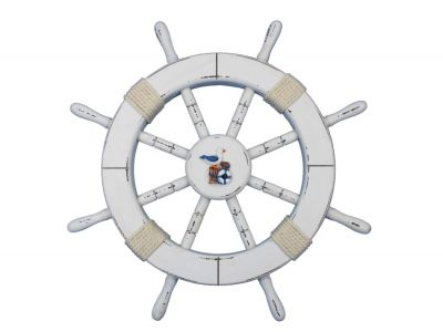 Rustic White Ship Wheel with Seagull and Lifering 18