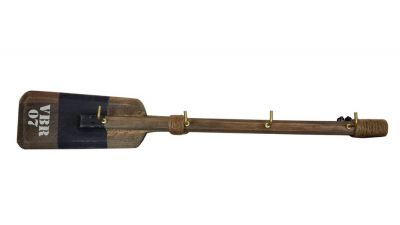Wooden Rustic VBR Oar with Blue Stripe and Hooks 16