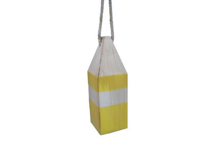 Wooden Rustic Yellow Chesapeake Bay Crab Trap Buoy 8