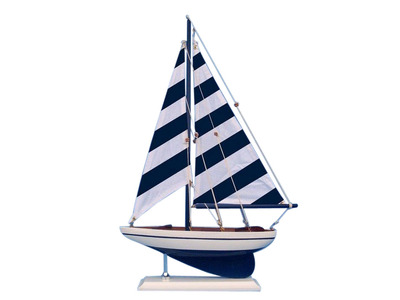 Wooden Blue Striped Pacific Sailer Model Sailboat Decoration 17""
