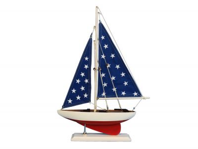 Wooden Patriotic Sailer Model Sailboat Decoration 17""