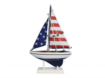 Wooden USA Flag Sailer Model Sailboat Decoration 9""