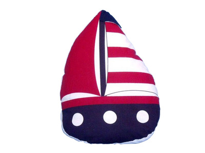 Patriotic Red with Red Stripes Sailboat Door Stopper 10""