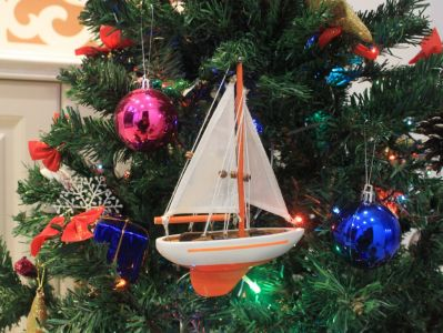 Orange Sailboat Christmas Tree Ornament 9""