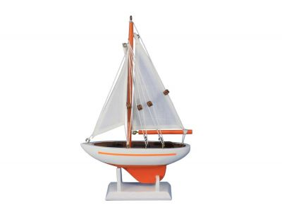 Wooden Orange Pacific Sailer Model Sailboat Decoration 9""