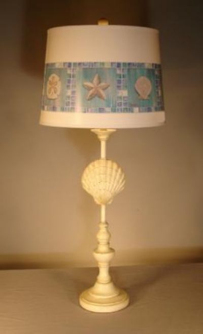 Scallop Shell Electric Lamp with Brent Shade 33
