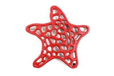 Rustic Red Cast Iron Starfish Trivet 7\