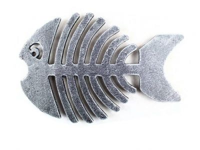 Antique Silver Cast Iron Fish Bone Trivet 11\