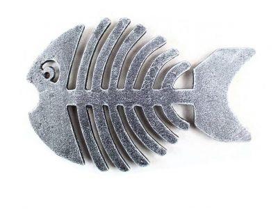 Antique Silver Cast Iron Fish Bone Trivet 11\