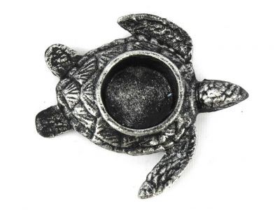 Antique Silver Cast Iron Turtle Decorative Tealight Holder 4.5\
