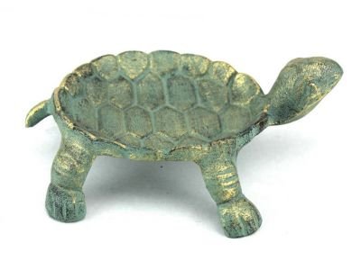 Antique Bronze Cast Iron Standing Turtle Plate 9""