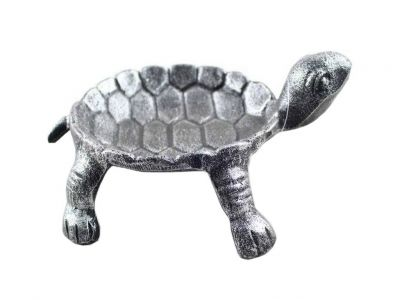 """Antique Silver Cast Iron Standing Turtle Plate 9"""""""
