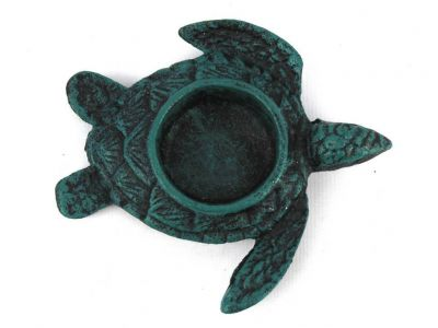 Seaworn Blue Cast Iron Turtle Decorative Tealight Holder 4.5\