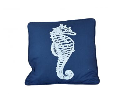 Navy Blue and White Seahorse Pillow 16
