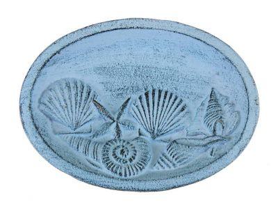 Rustic Dark Blue Whitewashed Cast Iron Decorative Seashell Bowl 8\