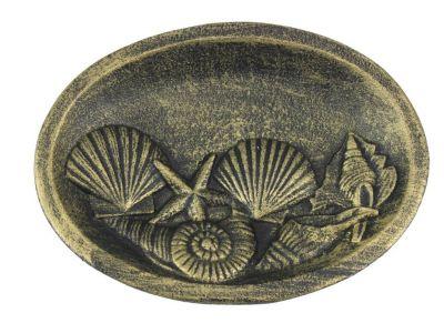 Antique Gold Cast Iron Decorative Seashell Bowl 8\