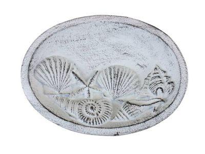Rustic Whitewashed Cast Iron Decorative Seashell Bowl 8\