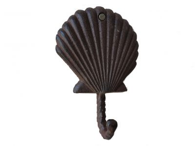 Rustic Cast Iron Scallop Shell Key Hook 6
